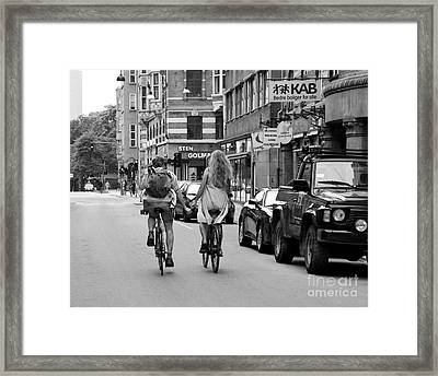 Copenhagen Lovers On Bicycles Bw Framed Print by Catherine Sherman