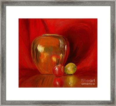 Copper Pot And Fruit Framed Print by Mary Benke