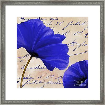 Coquelicots Bleue II Framed Print by Mindy Sommers