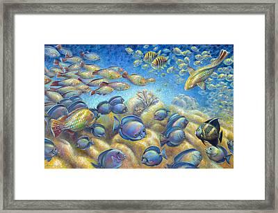 Coral Reef Life Silvers Framed Print by Nancy Tilles