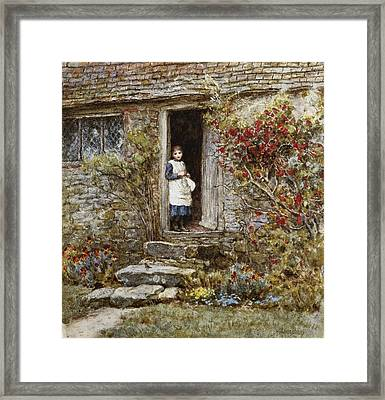 Corcorus Japonica Framed Print by Helen Allingham