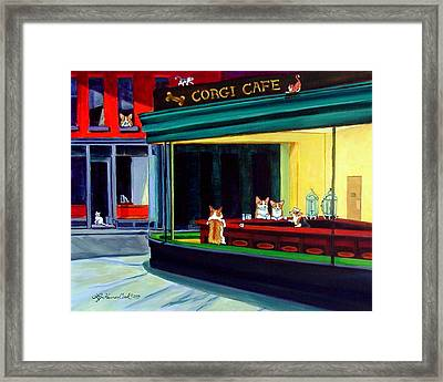 Corgi Cafe After Hopper Framed Print by Lyn Cook