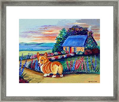 Corgi Cottage Sunrise Framed Print by Lyn Cook