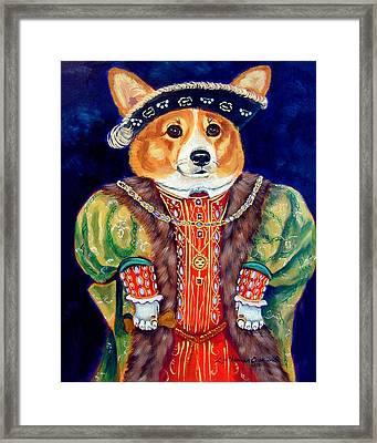 Corgi King Framed Print by Lyn Cook