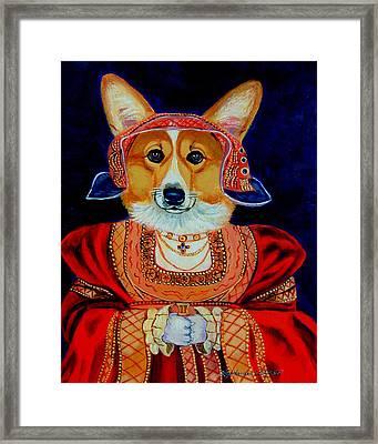 Corgi Queen Framed Print by Lyn Cook