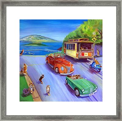 Corgi Trolley On Hyde Street Framed Print by Lyn Cook