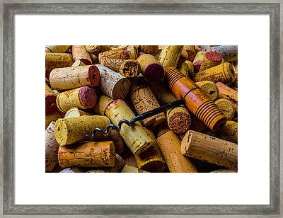 Corks And Corkscrew Framed Print by Garry Gay