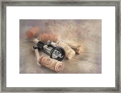 Corkscrew And Wine Corks Framed Print by Tom Mc Nemar