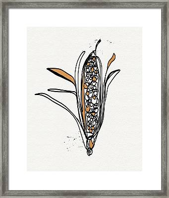 corn- contemporary art by Linda Woods Framed Print by Linda Woods