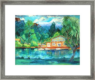 Cornell Boathouse Framed Print by Ethel Vrana