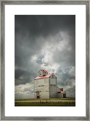 Corner Gas Grain Elevator In Dog River Framed Print by Randall Nyhof