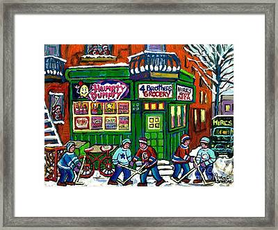 Corner Store Paintings Vintage Grocery Humpty Dumpty 4 Brothers Hires Root Beer Truck Canadian Art Framed Print by Carole Spandau