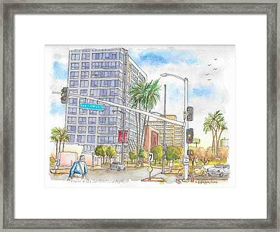 Corner Wilshire Blvd. And San Vicente Blvd, Los Angeles, Ca Framed Print by Carlos G Groppa