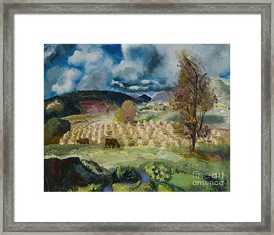 Cornfield And Harvest Framed Print by George Wesley Bellows