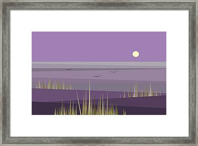 Cornfield With A Purple Sky Framed Print by Val Arie