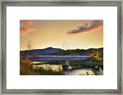 Cornish Windsor Covered Bridge In Autumn Framed Print by Joann Vitali