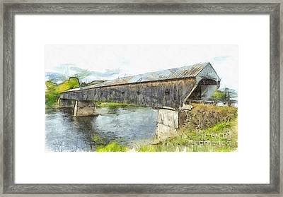 Cornish Windsor Covered Bridge Pencil Framed Print by Edward Fielding