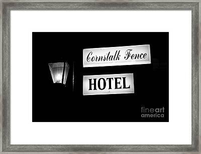 Cornstalk Fence Hotel Framed Print by Leslie Leda