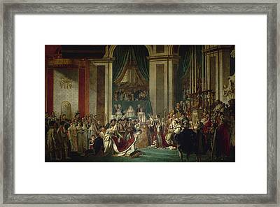 Coronation Of Emperor Napoleon I And Coronation Of The Empress Josephine In Notre-dame De Paris, Dec Framed Print by Jacques-Louis David