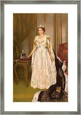 Coronation Portrait Of Queen Elizabeth II Of The United Kingdom Framed Print by Mountain Dreams