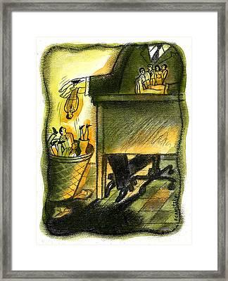 Corporate Downsizing Framed Print by Leon Zernitsky