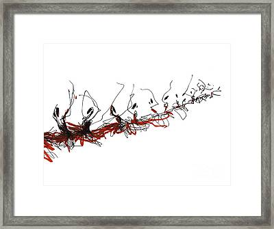 Corps De Ballet In Red Tutus Framed Print by Lousine Hogtanian