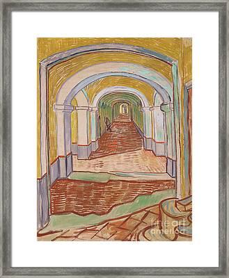 Corridor In The Asylum, September 1889 Framed Print by Vincent van Gogh