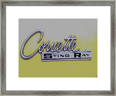 Corvette Emblem Framed Print by Audrey Venute