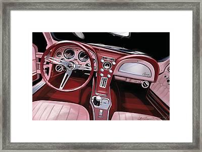 Corvette Sting Ray Interior Framed Print by Uli Gonzalez