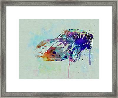Corvette Watercolor Framed Print by Naxart Studio