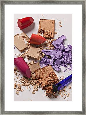 Cosmetics Mess Framed Print by Garry Gay