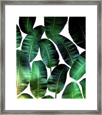 Cosmic Banana Leaves Framed Print by Uma Gokhale