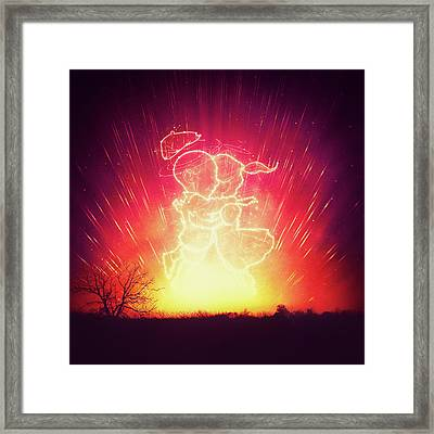 Cosmo And Celeste Colorful Cosmological Night Sky Couple In Love  Framed Print by Philipp Rietz