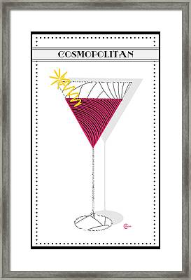 Cosmopolitan Cocktail Pop Art Deco  Framed Print by Cecely Bloom