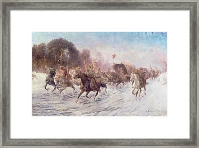Cossacks In A Winter Landscape   Framed Print by Anton Baumgartner Stoiloff