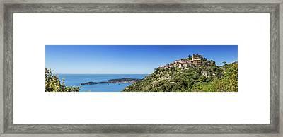 Cote D'azur Eze And Coastline - Panoramic Framed Print by Melanie Viola