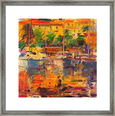 Cote D'azur Reflections Framed Print by Peter Graham