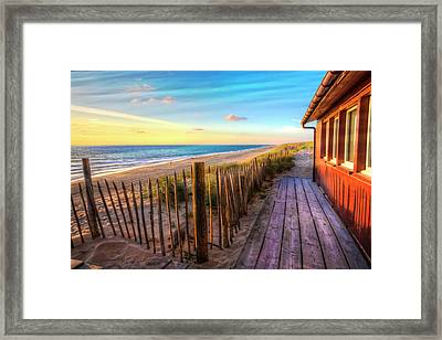 Cottage By The Sea Framed Print by Debra and Dave Vanderlaan