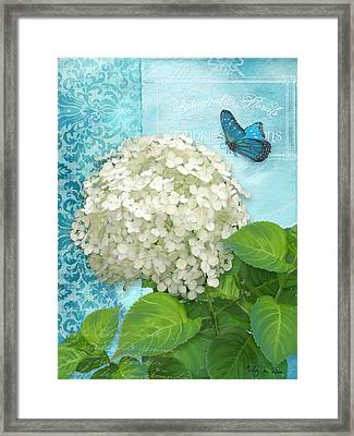 Cottage Garden White Hydrangea With Blue Butterfly Framed Print by Audrey Jeanne Roberts