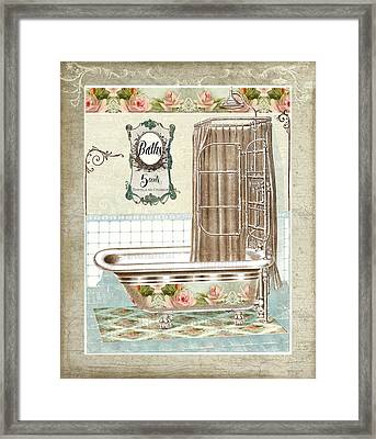 Cottage Roses - Victorian Claw Foot Tub Bathroom Art Framed Print by Audrey Jeanne Roberts