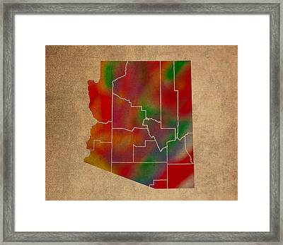 Counties Of Arizona Colorful Vibrant Watercolor State Map On Old Canvas Framed Print by Design Turnpike