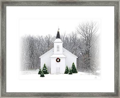 Country Christmas Church Framed Print by Carol Sweetwood