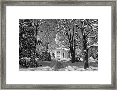 Country Church In Winter Maine Bandw Photo Framed Print by Keith Webber Jr