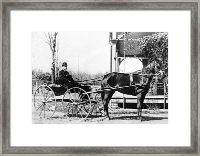 Country Doctor House Calls Framed Print by Underwood Archives