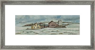 Country Farm In Winter Framed Print by Charlotte Blanchard