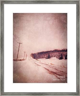 Country Road In Snow Framed Print by Jill Battaglia