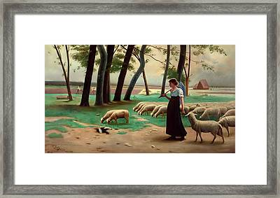 Country Shepherdess  Framed Print by Henri Lerolle