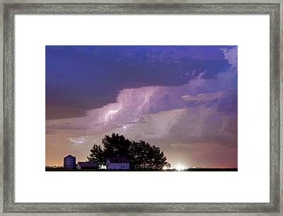 County Line Northern Colorado Lightning Storm Cropped Framed Print by James BO  Insogna