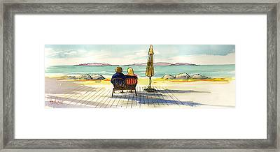 Couple At The Beach Framed Print by Ray Cole