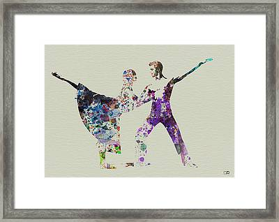 Couple Dancing Ballet Framed Print by Naxart Studio